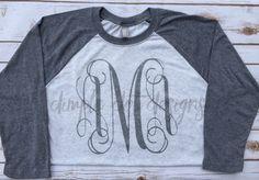 Monogrammed Raglan  Women's Monogram Shirt  by DimpleDotDesigns