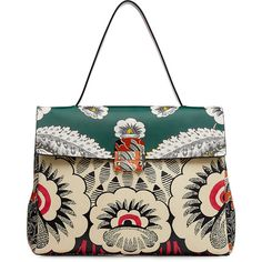 Valentino Printed Leather Tote ($2,551) ❤ liked on Polyvore featuring bags, handbags, tote bags, multicolor, leather purses, genuine leather tote, handbags totes, white leather tote and white leather handbags