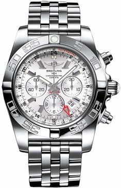 Breitling Windrider Chronomat GMT Auto Men Silver Dial Steel Watch AB041012/G719 Guaranteed Authentic #BreitlingForMen