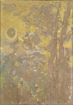 peinture décorative française : Odilon Redon, panneau pour la salle à manger du Château de Domecy-sur-le-Vault, 1901, gris-jaune