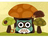 Owl, Hedgehog, Snail and Mushrooms