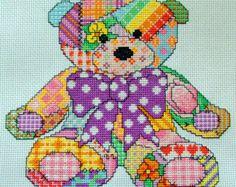 Cute Patchwork Teddy Bear Cross Stitch Pattern, Instant Download PDF