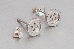 Silver button studs Button earrings 925 sterling silver Button earrings