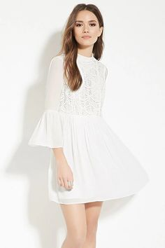 Contemporary Shirred Lace Dress #spring