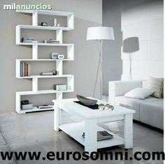 . Estanter�a modular de original dise�o, disponible en color blanco y color ceniza. Ancho : 90, alto : 190 y fondo : 28 cm.www.eurosomni.com