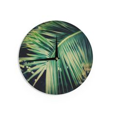 "Angie Turner ""Palm Frond"" Green Nature Wall Clock"
