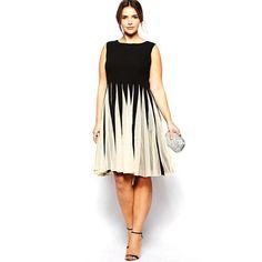 """BignTrendy Series"" Cotton Blend Crew Neck with Contrast Colors Sleeveless Knee Length Dress"