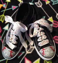 Adult Baseball Blinged Tennis Shoes by SassyGirlsX3 on Etsy https://www.etsy.com/listing/210294946/adult-baseball-blinged-tennis-shoes
