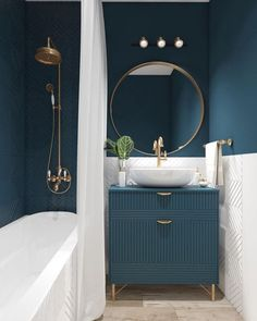 Luxurious small bathroom idea with dark green, white and gold accents. - Wohnung Luxurious small bathroom idea with dark green, white and gold accents. Luxurious small bathroom idea with dark green, white and gold accents. Bathroom Design Small, Bathroom Interior Design, Small Bathroom Ideas, Small Bathroom Paint, Bath Design, Small Toilet Room, Small Bathroom Colors, Colorful Bathroom, Round Bathroom Mirror