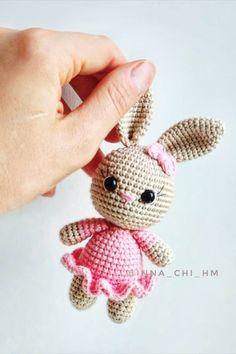 Crochet Rabbit Free Pattern, Easter Crochet Patterns, Crochet Bunny Pattern, Crochet Amigurumi Free Patterns, Cute Crochet, Crochet Bear, Tiny Bunny, Knitted Dolls, Crochet Projects