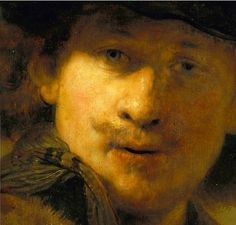 Rembrandt 'Self-Portrait with Velvet Beret'(detail) 1634, Oil on oak wood | par Plum leaves