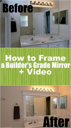 How to Frame a Builders Grade Mirror (Before and After) via SewWoodsy.com for @Homes.com Layout Design, Design Ideas, Up House, Home Upgrades, Basement Remodeling, Basement Plans, Remodeling Ideas, Basement Storage, Cheap Renovations
