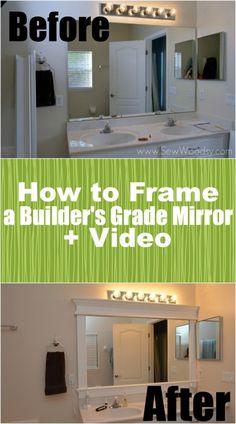 How to Frame a Builders Grade Mirror (Before and After) via SewWoodsy.com for @Sarah Kellam.com