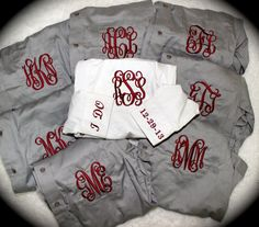 Grey Maroon Monogrammed Bride and Bridesmaid Button Up Shirts by SewRaes, $28.00