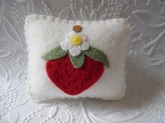 Red Strawberry Pincushion Felt Flower Pin Keep by pennysbykristie