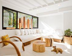 hacer una mesa con un tronco de maderaDecorar con troncos de madera