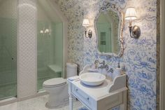 ... <b>french</b> <b>country</b> bathrooms Bathroom Farmhouse with <b>blue and yellow</b> toile