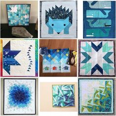 A mosaic all of blues for the #blueberryparkminiswap and the #blueberrykarie group. I love all the shades of blues together and clean lines. I've also got a thing for triangles and geometric designs. Keep your eye out partner, I've got a couple more inspiration mosaics coming for you. 😉 (I tried to tag all the makers of these fabulous minis) #lifeofmegananneswapmosaic  #HTDreamNurseryContest