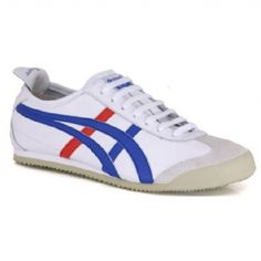 Onitsuka Tiger - Mexico 66 - Unisex - White / Introduced in 1966 these were the first shoes with the famous Tiger Stripes. They were worn at the Mexico Olympic Games in 1968. With lace up front and red and blue tracks. http://www.comparestoreprices.co.uk/shoes/onitsuka-tiger--mexico-66--unisex--white-.asp