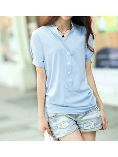 V Neck Short Sleeve Buttons Design Front Blue Chiffon T-shirt