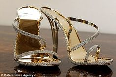 Heels made entirely from solid gold and more than 2,000 diamonds. World's most expensive shoes worth £140,000 go on display  This is the most expensive pair of shoes in the world - setting fashion lovers back a staggering £140,000.        But buyers have been reluctant to step forward and take the title of the most well-heeled human in history.