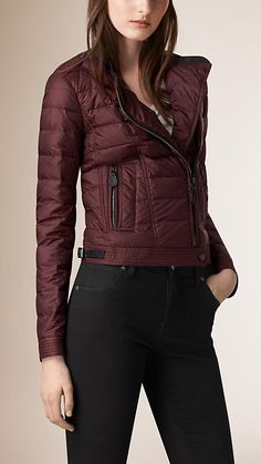 Deep burgundy Cropped Down-Filled Puffer Jacket - Image 2