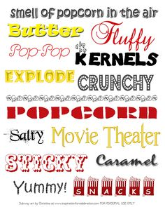 Inspiration for Celebration: National Popcorn Day-Free Printable Popcorn Subway Art Movie Theater Party, Movie Night Party, Silouette Cameo Projects, Silhouette Projects, Cub Scout Popcorn, Cool Fonts, Fun Fonts, Movie Crafts, Subway Art