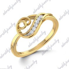 Yellow Gold Over Sterling Silver Round Cut White Diamond Bypass Ring Best Diamond Rings, Buy Diamond Ring, Halo Diamond, Cute Jewelry, Jewelry Rings, Ring Home, Bypass Ring, Silver Rounds, Ring Designs