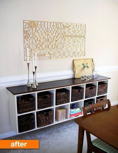 Griffin found this shelf at a thrift store &  with some creative thinking she transformed it into a sophisticated storage piece for a dining room!