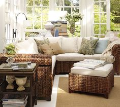 Seagrass Sectional Ottoman | Pottery Barn