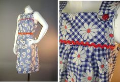 1960s vintage dress 60s BLUE GINGHAM DAISY by capricornvintage