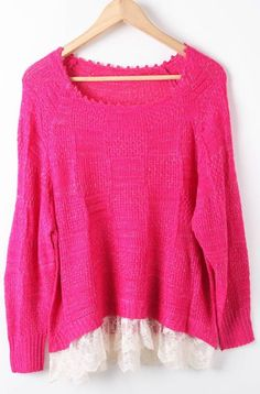 Rose Red Long Sleeve Hollow Lace Pullovers Sweater