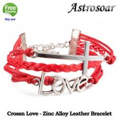 ASTROSOAR Leather Rope Chain Retro Accessories Zinc Alloy Bracelet