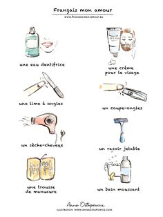 French vocabulary - Cosmetics, Illustration Anna Ostapowicz #illustration, #french, #words, #lesson, #cosmetics #learnfrench #beautyillustration