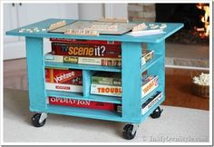 How to make a rolling game table - love this idea!