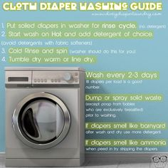 Simple cloth diaper washing instructions- each family will need to find their own way but this is a foundation for perfect cloth diaper washing routine.