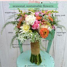 Seasonal & sustainable bouquet with flower varieties identified.  Designed by Buckeye Blooms.  www.buckeyeblooms.com