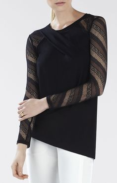 Norma Lace-Sleeve Draped Top