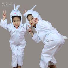 Children Kids Girl Boy Animal White Rabbit Costume Cosplay Jumpsuit Children's Day Halloween Easter Costumes for Boys Girls