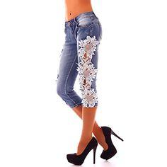 3937 Fashion4Young Damen Sexy Capri-Jeans Bermuda Short kurze Hose Hot Pants Shorts jeans Spitze (S=36, Dukelblau)
