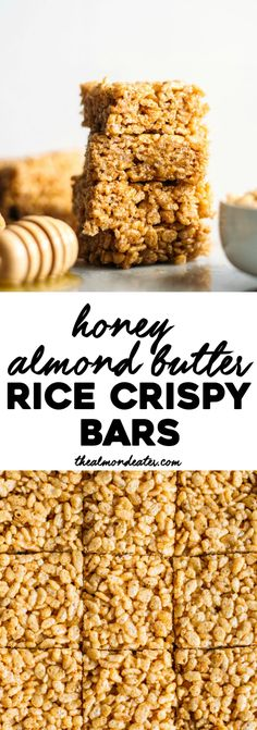 Healthy Honey Almond Butter Rice Crispy Bars that require just four ingredients. Plus, they're gluten free, dairy free and absolutely kid-friendly! Gluten Free Cereal, Gluten Free Sweets, Vegan Sweets, Healthy Sweets, Gluten Free Cakes, Healthy Baking, Gluten Free Recipes, Rice Crispy Bars, Rice Crispy Treats