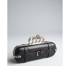 Alexander McQueen black leather belted skull knuckle box clutch.  IWANT THIS!