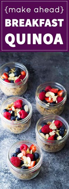 Make this Berry Almond Breakfast Quinoa on the week-end and you'll have four grab and go breakfasts ready for the week! Vegan, gluten free and refined-sugar free.