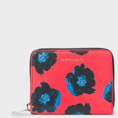 Paul Smith Women's Small Red 'Sea Aster' Print Leather Zip-Around... (270 CAD) ❤ liked on Polyvore featuring bags, wallets, red, floral wallet, real leather wallets, embossed leather wallet, leather zipper wallet and red wallet