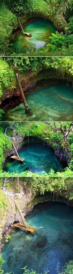 Swimming Hole, Samoa, South Pacific | An incredibly special natural pool in Samoa. It's an actual gigantic swimming hole located in a little village called Lotofaga. The spot itself was formed by a lava blast and you can go there and spend the day floating about in the turquoise water.
