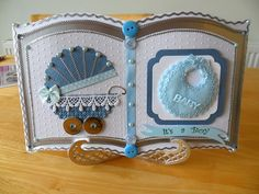 New baby Bookatrix card. Book Wedding Invitations, Wedding Book, Christening Card, Card Book, Crafters Companion, Open Book, Card Patterns, Memory Books, Card Making Inspiration
