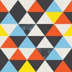 Fabric - PATTERN AND RHYTHM- Triangles and colors are being repeated. This  creates a solid, and retro feel to the design. I have socks these color.