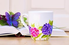 Pink and Purple Hydrangea Personalized Coffee Cup  - Hand Painted Flowers Coffee Mug - Floral Kitchen Decor - Mother's Day Gift on Etsy, $25.00