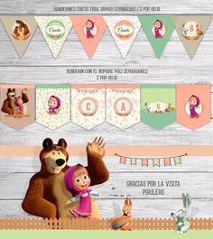 Kit Imprimible Masha Y El Oso - Cumpleaños - Candy Bar - $ 280,00 en Mercado Libre