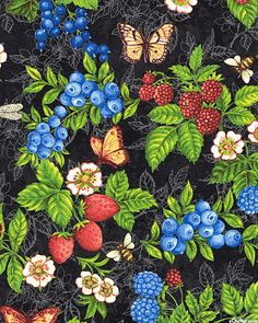 Berry Cobbler - Fruit Harvest - Dk Charcoal Gray by Henry Glass